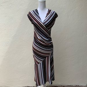 Diane Von Furstenberg Black/Multi Stripe Dress